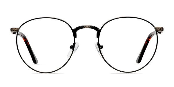 These black bronze eyeglasses are perfect for adding an artistic yet intellectual accent to your look. This round black-rimmed frame is universally flattering in a thin matte finished metal. The semi-transparent temples are fiery and fashionably contrast the antiqued etched bronze metal details. @EyeBuyDirect