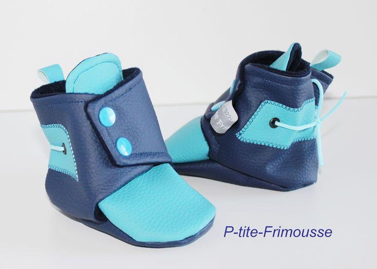 Chaussons bottines bébé, simili cuir et doublure polaire bleu marine. Imperméables ! : Mode Bébé par p-tite-frimousse