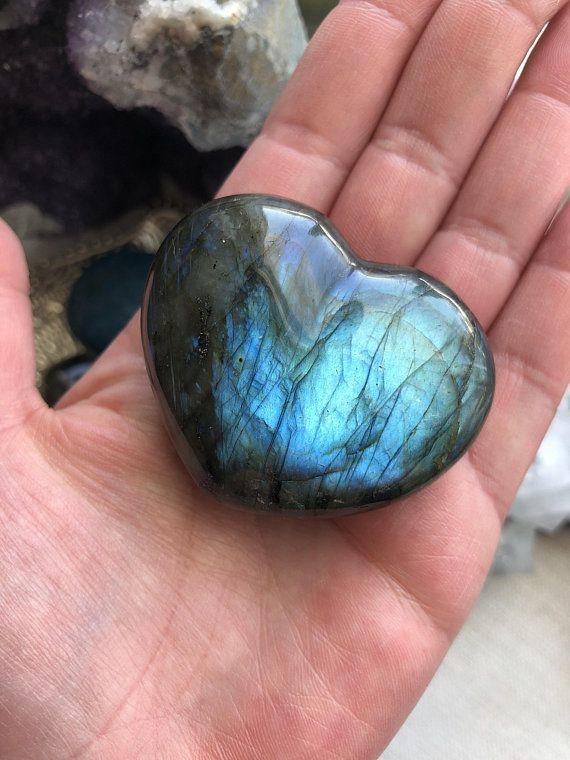 Labradorite Heart Stone Crystal Labradorite Polished Stones Stone Heart Labradorite Stone