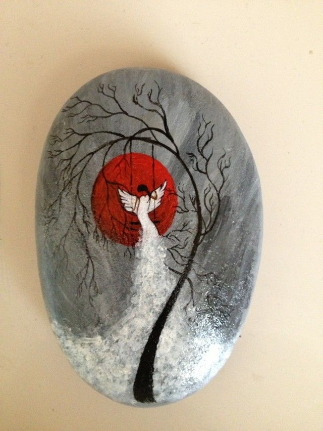 Painted rock / stone - angel or bird?