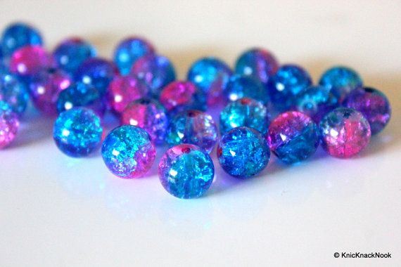 10 mm Pink and Turquoise Two Tone Crackle Glass by KnicKnackNook