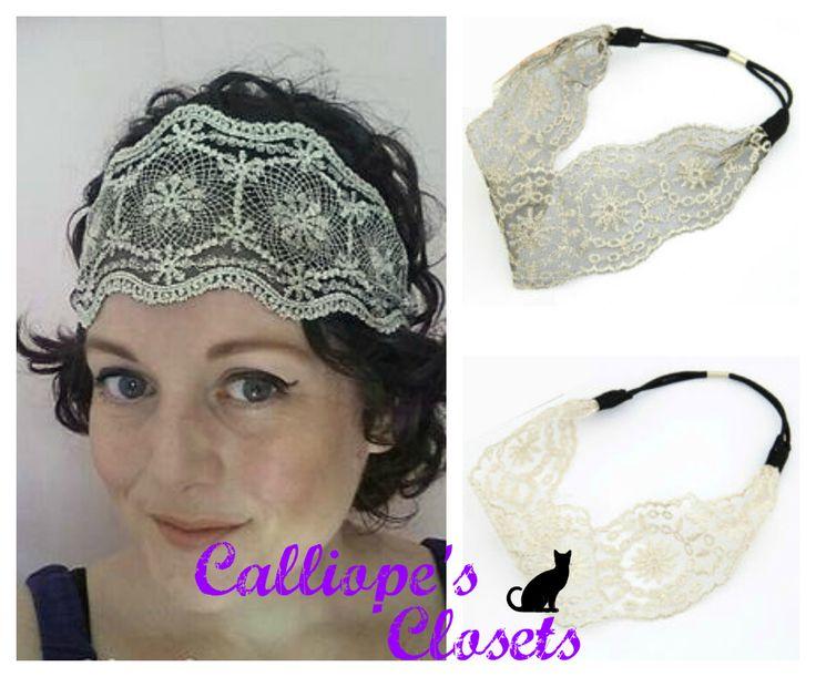 Headband - Lace Gatsby style - Black or White