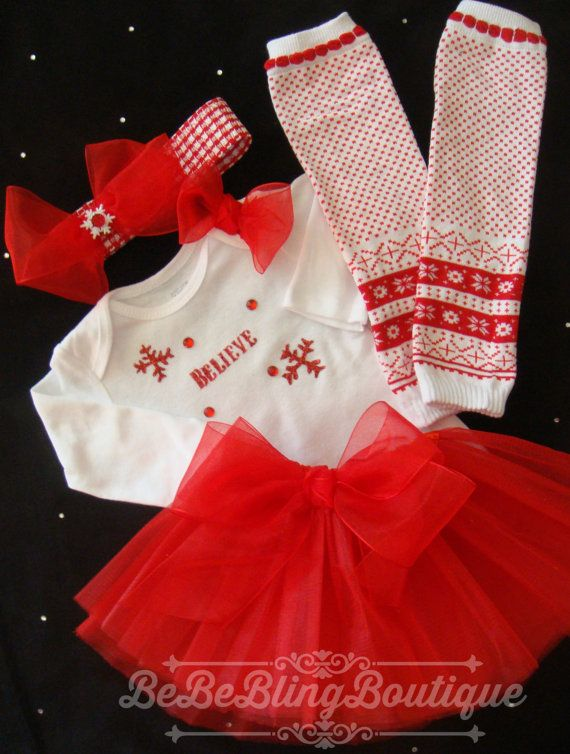 Newborn Baby Girl Christmas Dress Tutu Outfit by BeBeBlingBoutique