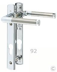 Capri polished chrome pvcu door handles - 92PZ, 122mm centres.