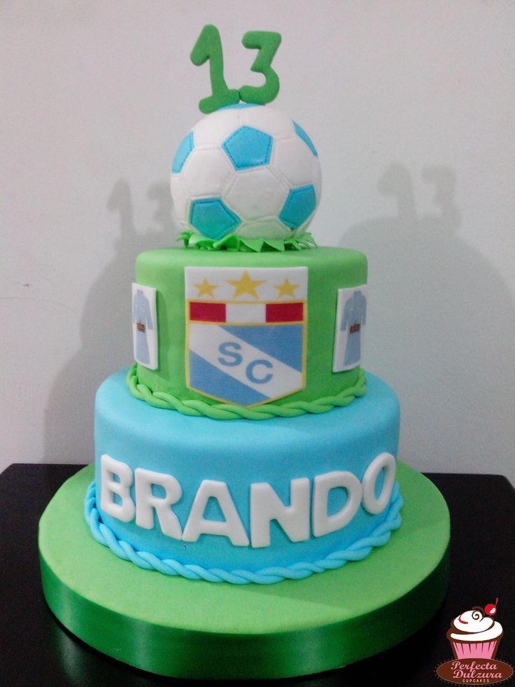 #Torta de Sporting Cristal para un #hincha de este #equipo de #fútbol #SportingCristal #SC #Pelota #Celeste #Cumpleaños #PerfectaDulzura