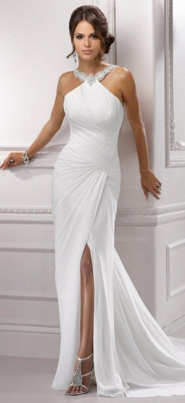 Be the hottest girl of the day wearing this sexy Sheath Column Halter Court Train Chiffon Wedding Dress! GET 60% OFF NOW >>> http://www.cutedresses.co/product/sheath-halter-court-train-chiffon-wedding-dress/