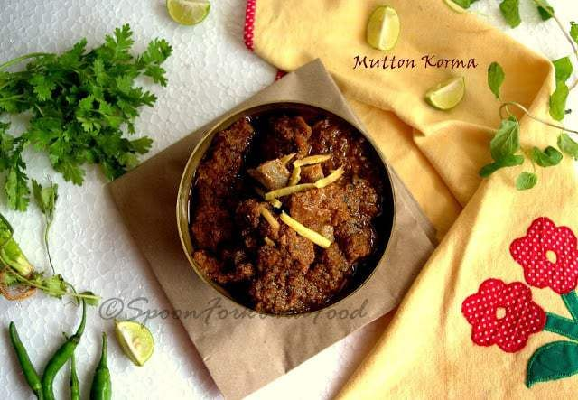 The word Korma/ Kurma comes from Mughlai cuisine. It means a royal gravy that is prepared with mutton, chicken, beef etc. The gravy is thick and rich with a little larger quantity of oil in it. Korma can be prepared either spicy or mild. It depends on your taste buds. Traditionally the Korma was made in a Big Handi, but gradually people adapted woks etc for cooking. I have also seen few cooking in a pressure cooker. Though it saves time and energy but trust me that authentic tastes lacks...