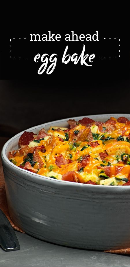 """Make Ahead Egg Bake – Discover the magic of combining spinach, cheese, and bacon for this Make-Ahead Egg Bake. This recipe is great for """"breakfast for dinner"""" meal prep or a weekend brunch. Did we mention that this dish is ready for the oven in 20 minutes?!"""