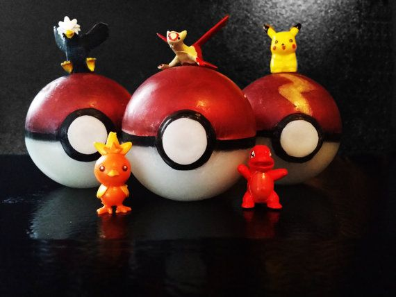 Pokeball Soap with Pokemon Toys in the Middle Made by InnerSunSoap