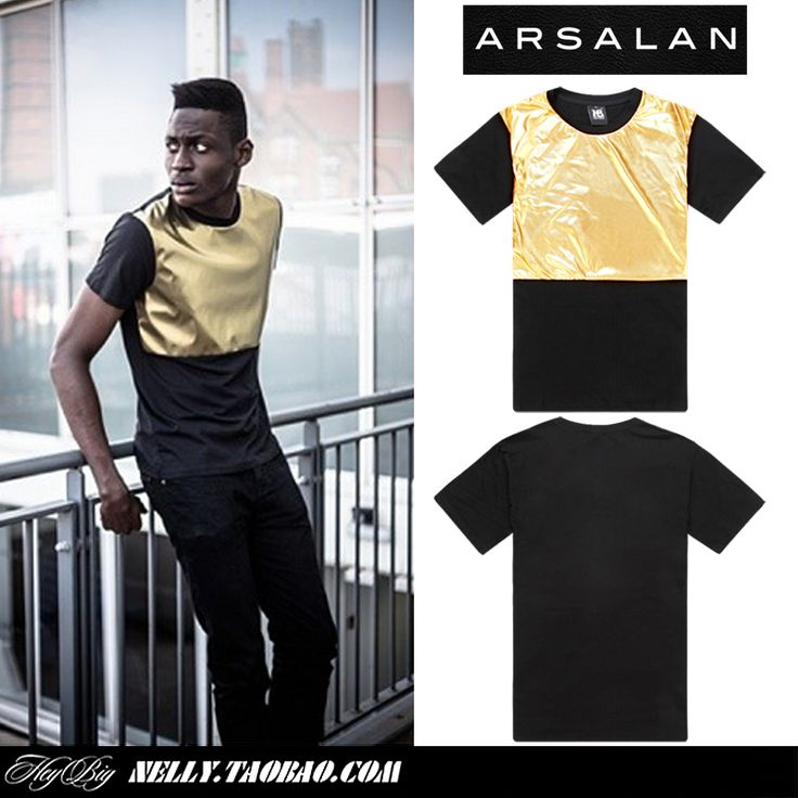 Arsalan 2014 new arrival gold quality shiny man fashion t-shirt loose mens hiphop t shirts pu patchwork male men leather t shirt