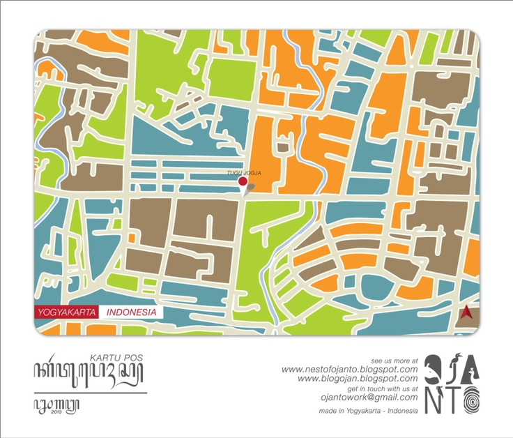 Indonesian City Maps Postcard Series (January 2013) | Yogyakarta - Indonesia | special spot : Tugu Jogja | Postcard Design by Ojan