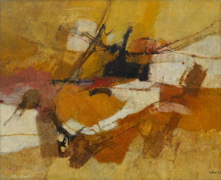 Afro (Afro Basaldella), Yellow Country, 1957. Oil on canvas, 43 x 53 inches (109.2 x 134.6 cm)