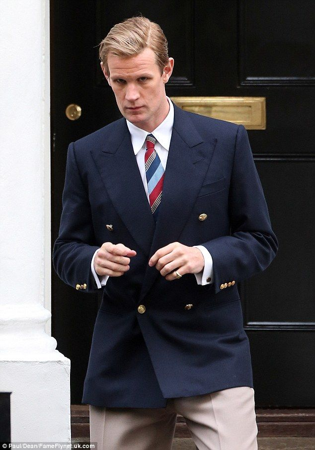 Back in a jacket: Matt Smith returned as Prince Phillip at a London townhouse earlier this week as he filmed the next season of The Crown