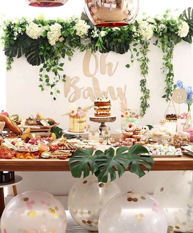 Dream Baby Shower!  This incredibly styled party ticks all the boxes! ✔️Spectacular grazing platter ✔️ Beautiful backdrop ✔️ Multiple cakes (one is a drip cake!) ✔️ Oversized confetti balloons ✔️ Donut tower All of these party elements are so on trend right now and make for a spectacular event!  You are a very clever and stylish mummy-to-be @misskyreeloves!