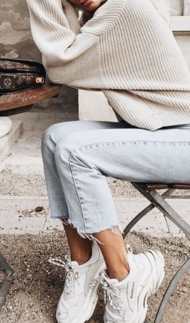 rib sweater + levis cut off jeans + balenciaga triple s trainer sneakers   everyday fall and winter outfits for teens and women    urban outfitters outfit ideas for women   skinny jeans and sneakers outfit   #ootd #outfits #outfitideas