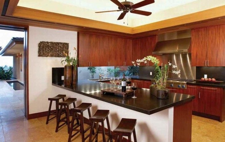 Bottle Of Wine On Brown Countertop With Wooden Barstool And Kitchen Cabinet - pictures, photos, images