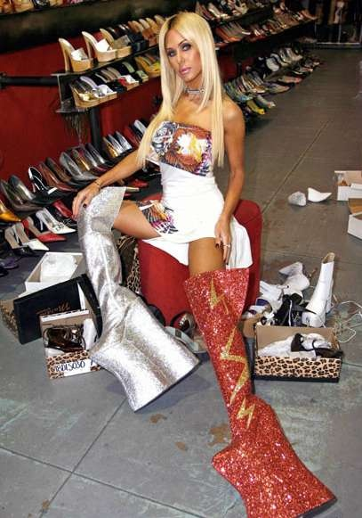 Shauna Sand in shoes that defy explination