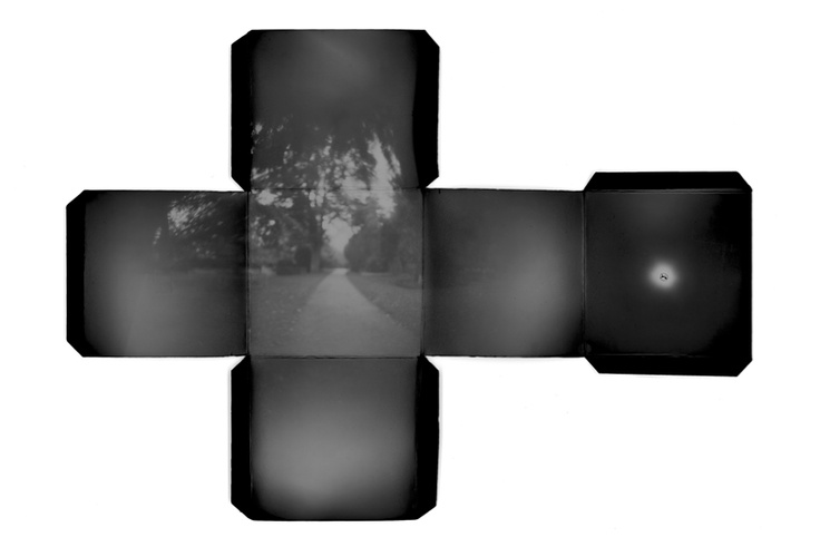 PutPut - Intermissions (Pinhole photograph, unique print) / Using a pinhole camera lined with positive paper in the same cubical shape as the camera, allows the image to be captured on multiple surfaces simultaneously. The 'Intermissions' series creates a distorted perspective that mimics and distorts the chosen space / http://www.putput.dk