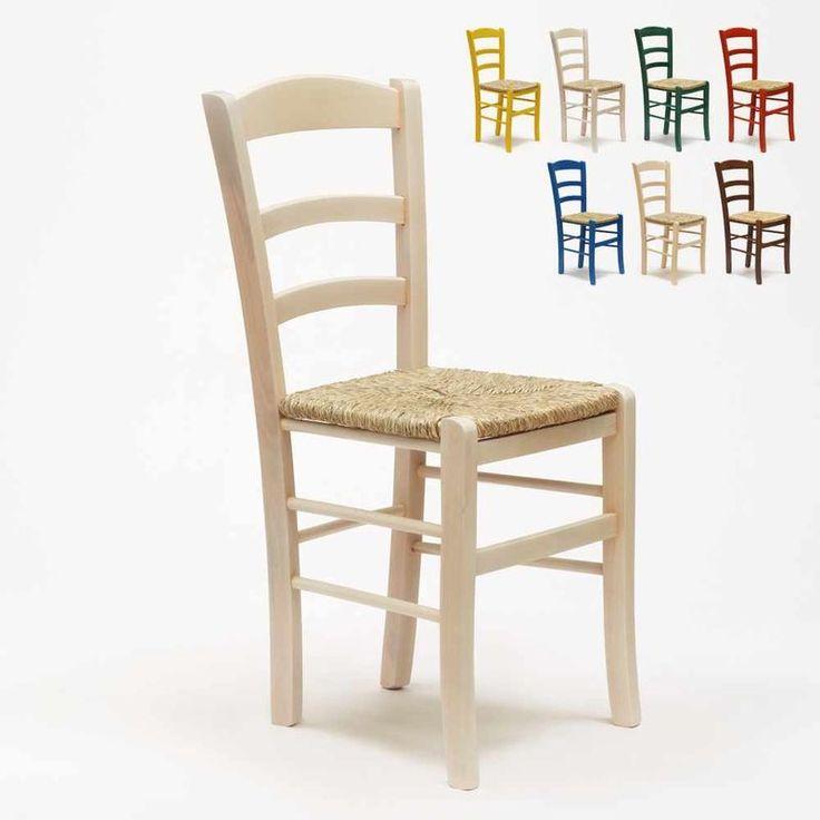 Sedia in legno e seduta impagliata per cucina bar e ...