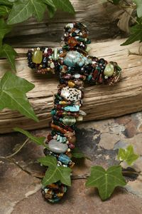 """Turquoise & Jade 7"""" Gemstone Wall Cross - Make a shining statement of your faith with this dazzling wall cross."""