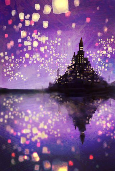 Water color Disney's Tangled castle #illustration