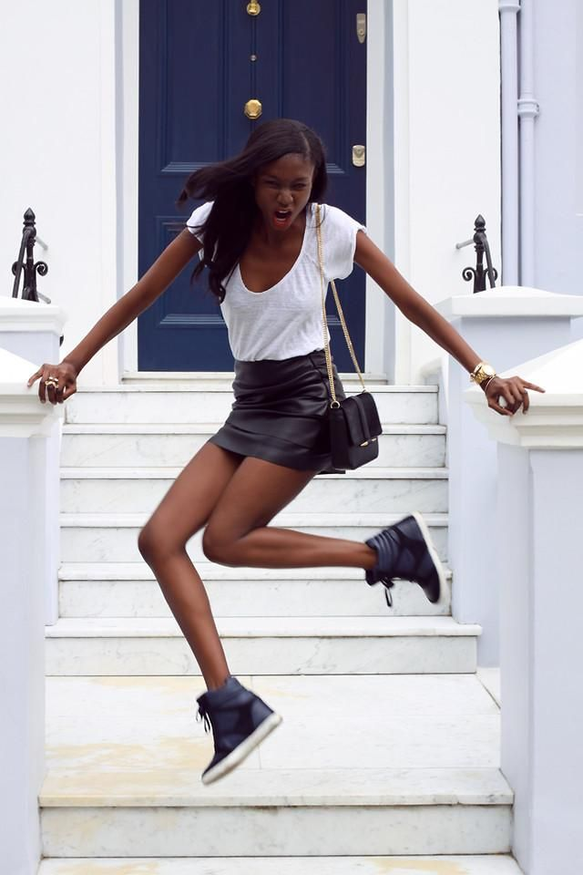 sneakers: Skirt And Sneakers, Casual Style, Leather Skirts, Clothes, Style Inspiration, Street Style, Photo Inspiration, River Island, Fashion Inspiration