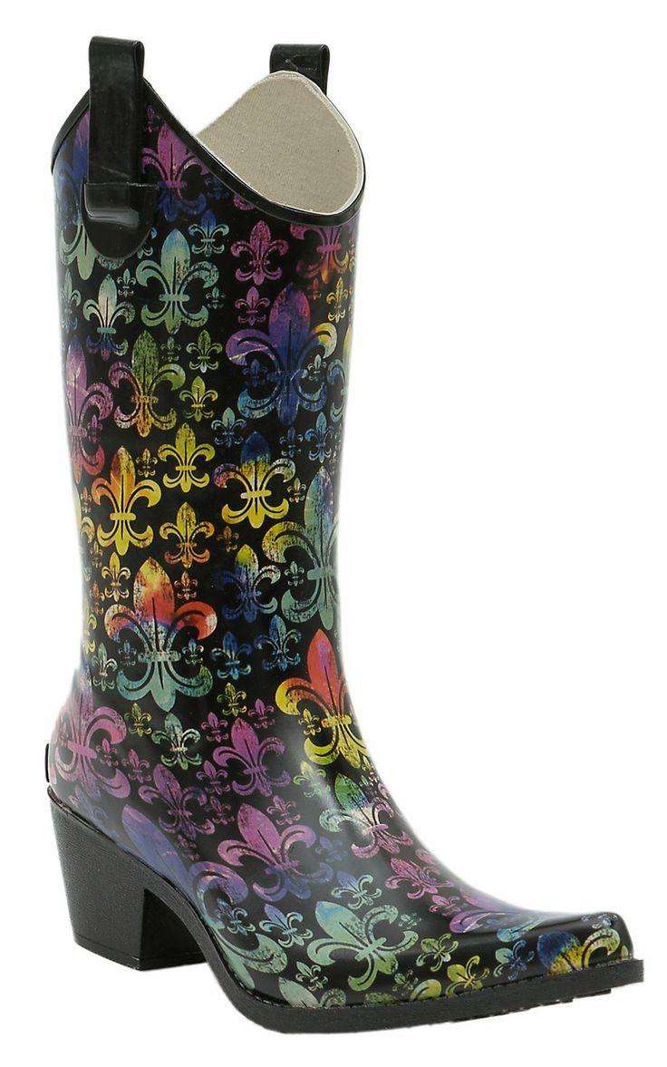 Corky's Women's Multi Color Fleur De Lis Rodeo Snip Toe Rain Boots