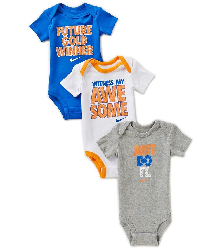 Nike Baby Boys Newborn-12 Months 3-Pack Bodysuits