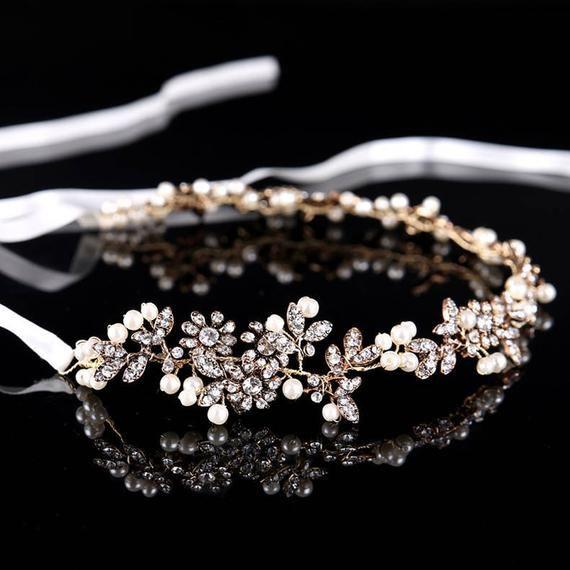 Bridal hair vine Wedding hair accessories Bridal hair piece Antique gold or silver Wedding unique hair piece Wedding hair piece crystals