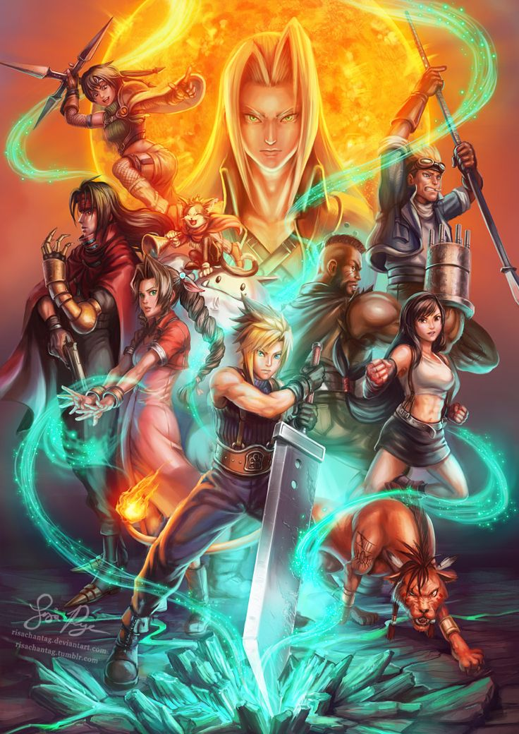risachantag:  Final Fantasy VII - Supernova It felt lovely to paint the FFVII crew again, it's been so long! This was my holiday project. I probably spent 4-5 hours painting each character, if that gives you an idea of the amount of work in this. I'll add a painting process gif later. Excited for the remake? I'm cautiously optimistic, though I have a lot of love for the original game.