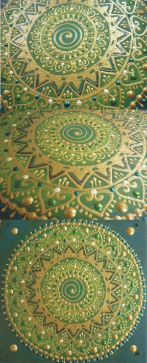 zöld Nap-Spirál mandala/ green Sun-Spiral mandala