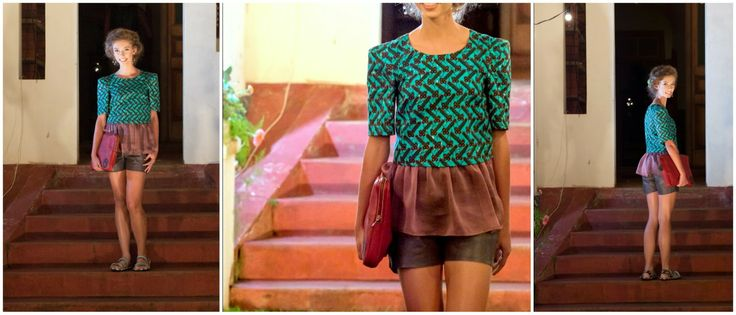 Adanna Fashion Show 2014 - Outfit #2  #croptop with #leather #shorts and #peplum detail Materials: #Vlisco and #leather