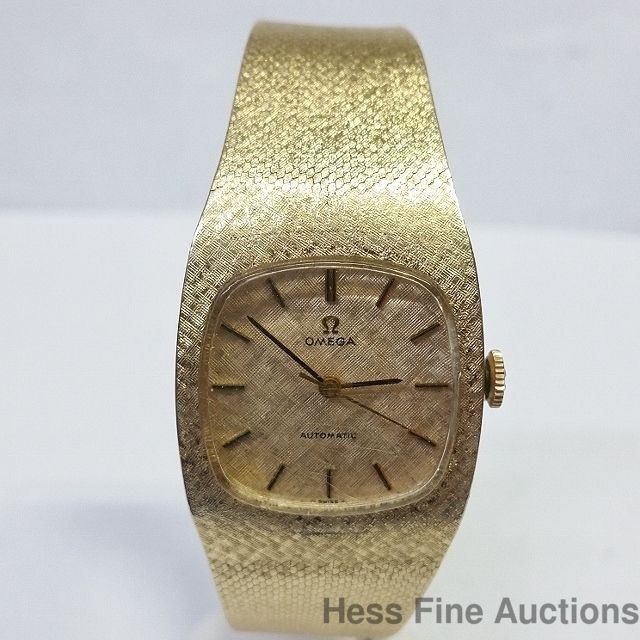 Scarce 1970s Automatic 14k Gold Mens Bracelet Omega Big Man Sweeps Second Hand #Omega #DressFormal
