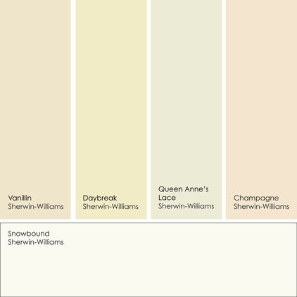 Colors that work with warm white. Snowbound from Sherwin-Williams is my go-to warm white. Pair it with any of these accent hues for your own light and cozy space. From left to right (all from Sherwin-Williams): Vanillin, Daybreak, Queen Anne's Lace, Champagne and Snowbound.