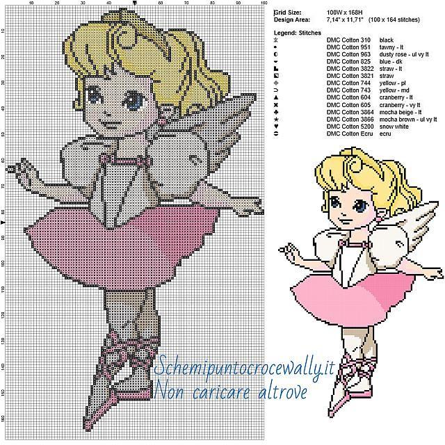 Principessa Aurora ballerina schema Disney a punto croce 100x168 14 colori