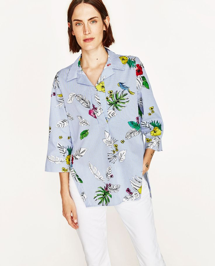 STRIPED AND FLORAL PRINT SHIRT