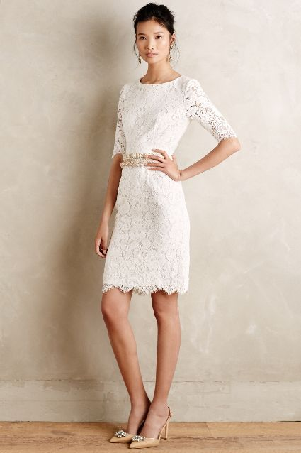 Perfect dress to change into for the reception get-a-way  Agnella Laced Sheath - anthropologie.com