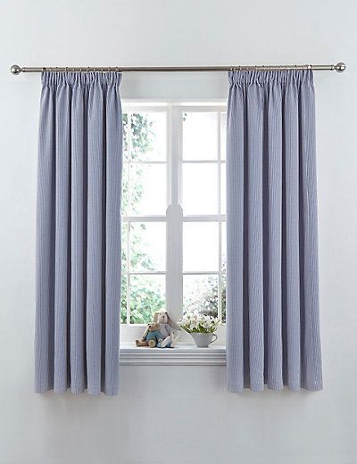These ticking striped pencil pleat curtains will make your nursery more homey.