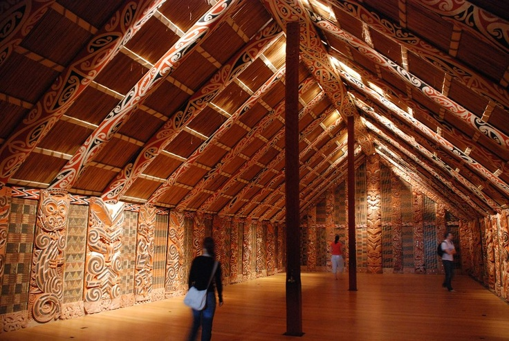 In Maori culture, a wharenui is a meeting house, one of the most important buildings on a marae, the interior is intricately carved, representing the people's ancestors and history, from the first wakas (canoes) that came to NZ over a thousand years ago..