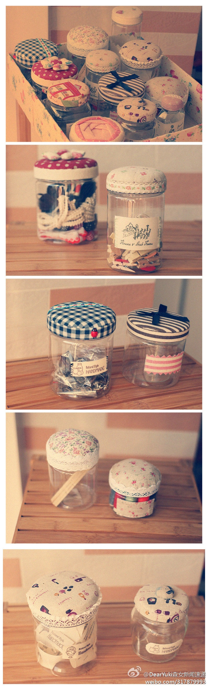 Craft containers with lids - Cute Fabric Jar Lid Cover