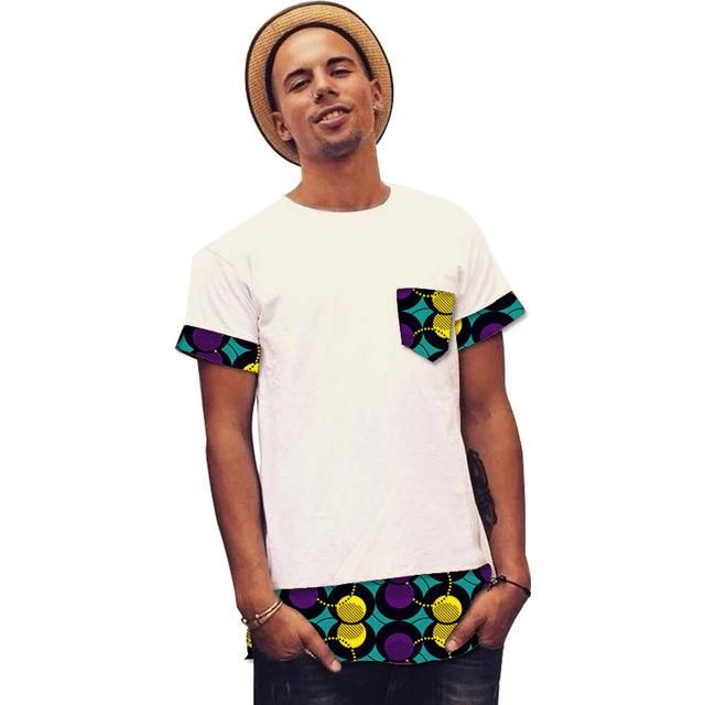 Patchwork print/ dashiki tops short sleeve men african clothes fashion -neck african shirt man africa clothing customized