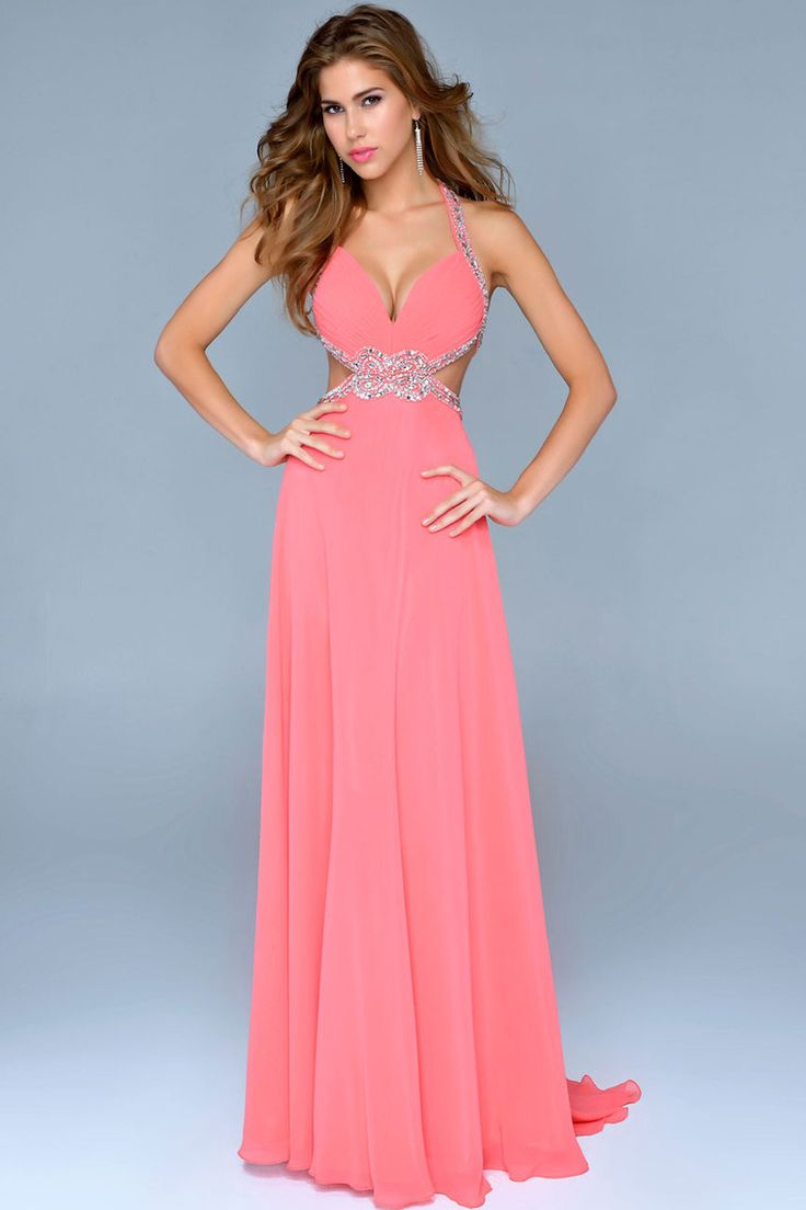 2014 New Arrival Chiffon Cut Out Halter Prom Dress Sexy A Line Court Train