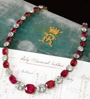 Rare & highly important ruby & diamond necklace, Late 19th Century - The 5th Earl of Rosebery is believed to have purchased this necklace & earrings as a present for his wife, who passed it down to her daughter, the Marchioness of Crewe who, in turn, gave it to her daughter, Mary, Duchess of Roxburghe. A suite containing a necklace & earrings, the necklace contains 24 cushion-shaped rubies & 24 similarly shaped diamonds that dates to the late 19th century [Sold for $5.77 million]