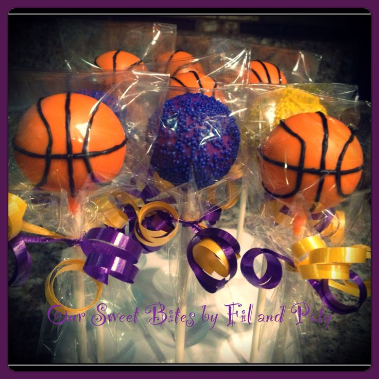 Our LA Laker Inspired Basketball and Simple cake pops #oursweetbites Like us on Facebook rsweetbites@gmail.com