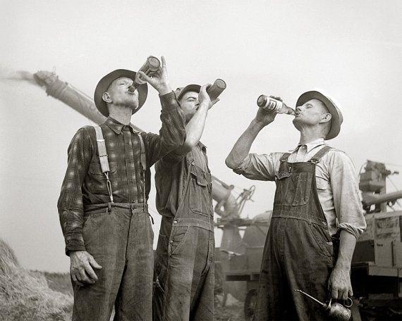 Farmers Drinking Beer, 1941. Vintage Photo Digital Download. Black & White Photograph. Liquor, Alcohol, Farm, Bar, 1940s, 40s, Historical.