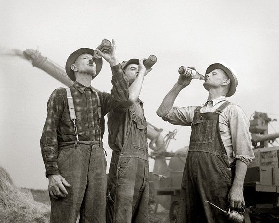 Farmers Drinking Beer, 1941. Vintage Photo Digital Download. Black & White Photograph. Liquor, Alcohol, Farm, Bar, 1940s, 40s, Historical.