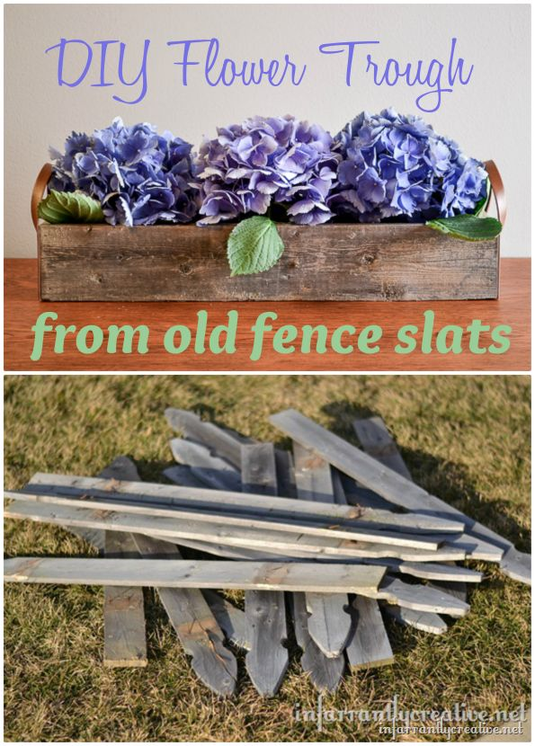 Flower trough centerpiece made from weather wood fence slats