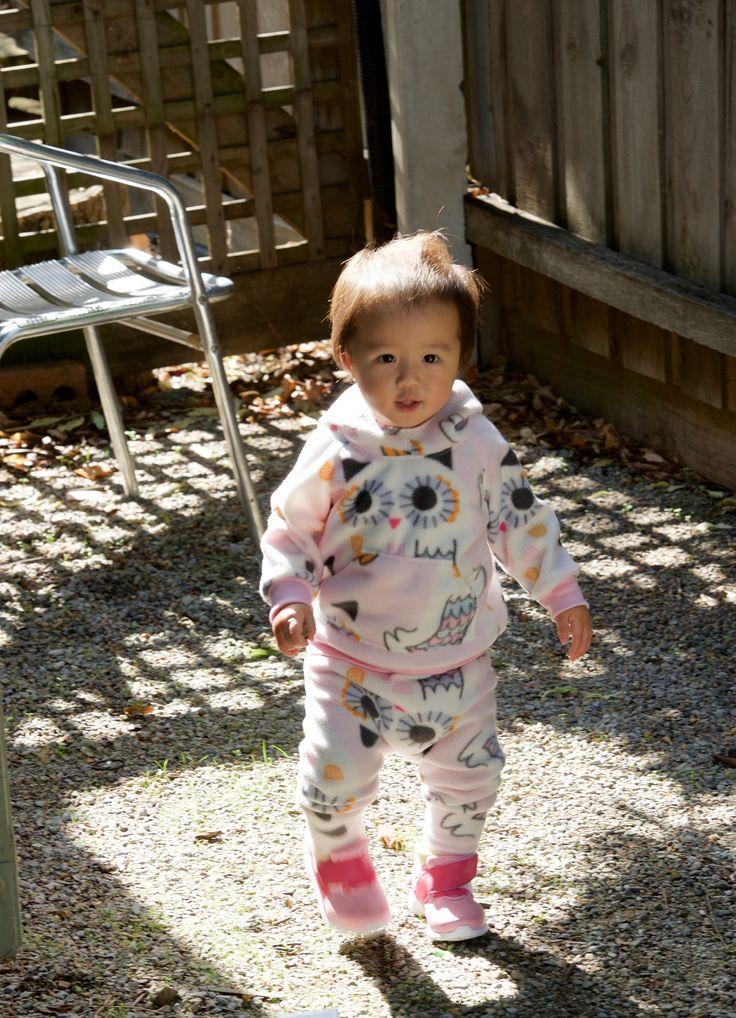 Baby girl owl fleece jumper harem pants set