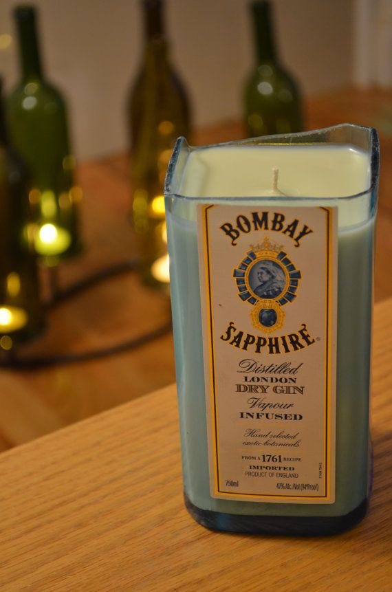 MOVING SALE // Recycled Gin Bottle Soy Candle with Bombay Sapphire label // Light Blue glass // 6 in