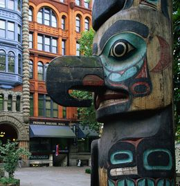 Pioneer Square, Seattle, Washington. Totem. One of Seattle's oldest neighborhoods. This is where you can experience the Underground Tour to see parts of the original city.